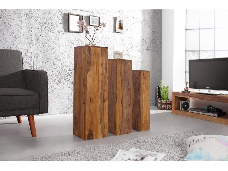 Set 3 cubi in legno sheesham for Cubi in legno arredamento