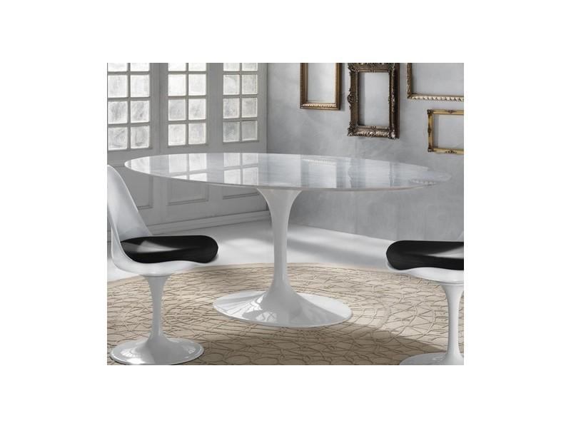 Tavolo Tulip Ovale Marmo di Carrara, 169 x 111 cm