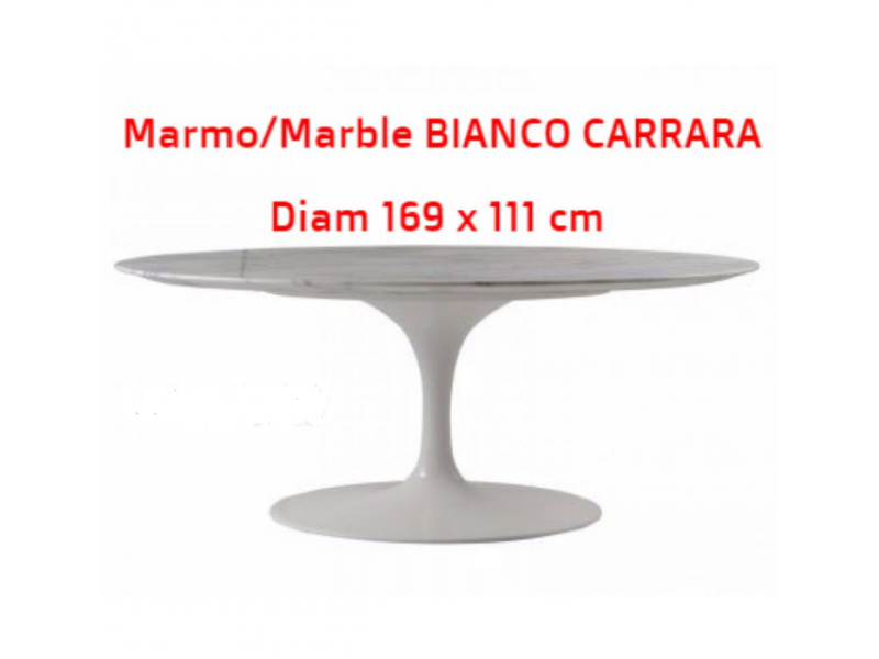 tavolo tulip ovale marmo di carrara 169x 111 cm