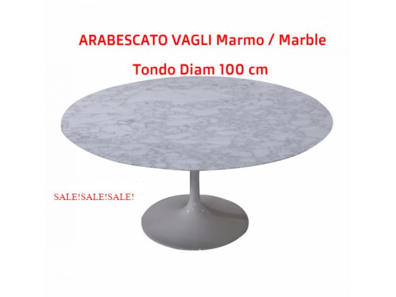 Tavolo Tulip Tondo Marmo Arabescato Vagli, diametro 100 cm