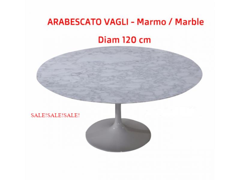 Tavolo Tulip Tondo Marmo Arabescato Vagli, diametro 120 cm