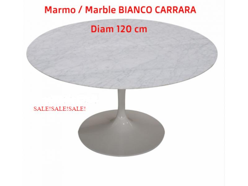 Tavolo Tulip Tondo Marmo di Carrara, diametro 120 cm