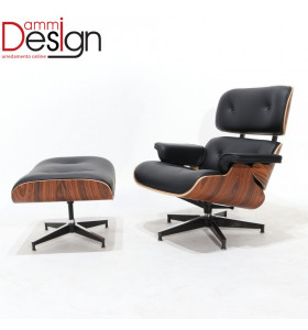 Poltrona Lounge Chair con Pouf in pelle