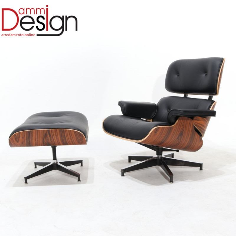 Poltrona eames lounge chair con pouff in palissandro e for Poltrone pouff