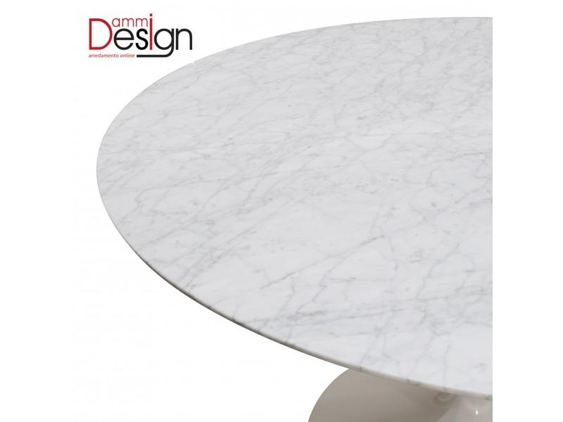 Tavolo Tulip Marmo di Carrara 199 x 121 + 6 sedie DSW bianche