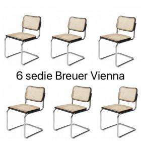 6 Sedie Breuer Vienna bordo nero