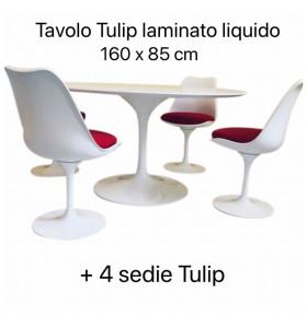 Tavolo Tulip Laminato Liquido 160 x 85 cm + 4 sedie tulip cuscino rosso
