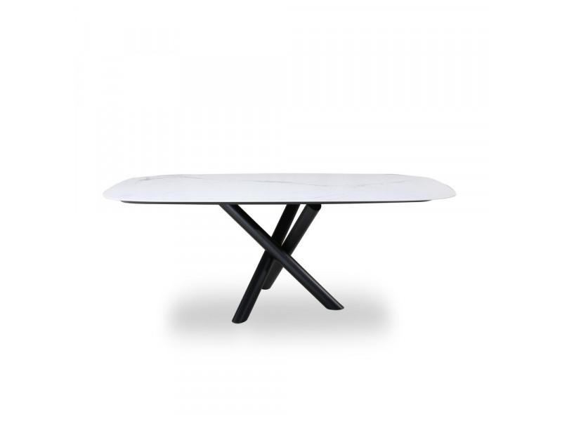 Tavolo CROSS con piano in ceramica effetto marmo-base in acciaio