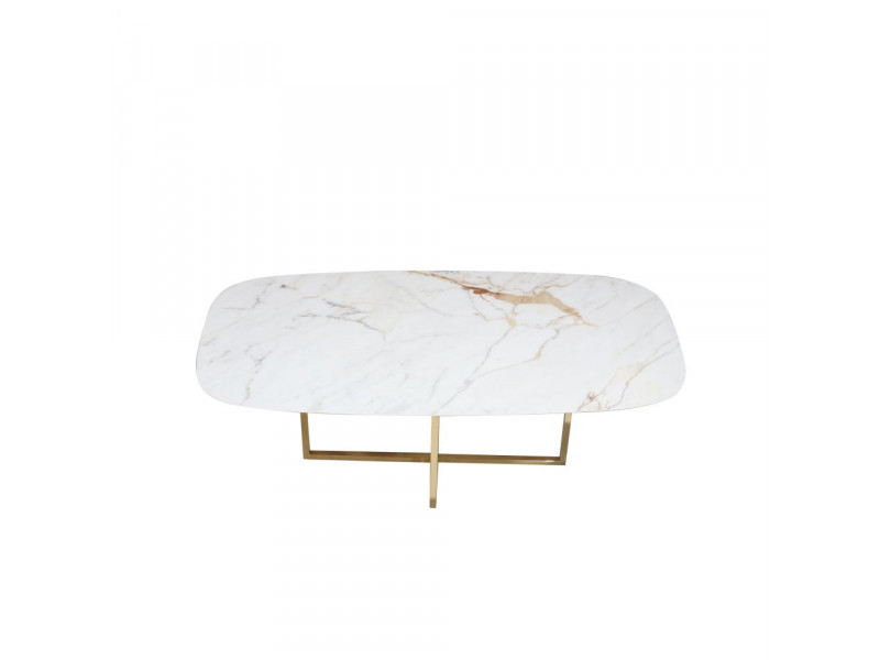 Tavolo AVA piano in CERAMICA effetto marmo a botte , varie misure