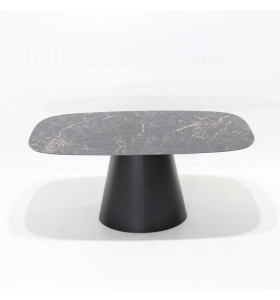 Tavolo ANDROMEDA piano in CERAMICA effetto marmo a botte , varie misure