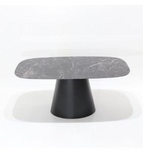 Tavolo CONE piano in CERAMICA effetto marmo a botte , varie misure