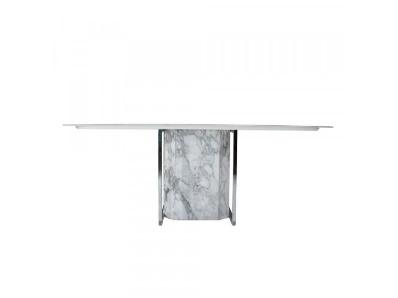 Tavolo FREUD piano in CERAMICA effetto marmo a botte , varie misure