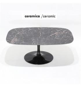 Tavolo BARREL piano in CERAMICA effetto marmo a botte , varie misure
