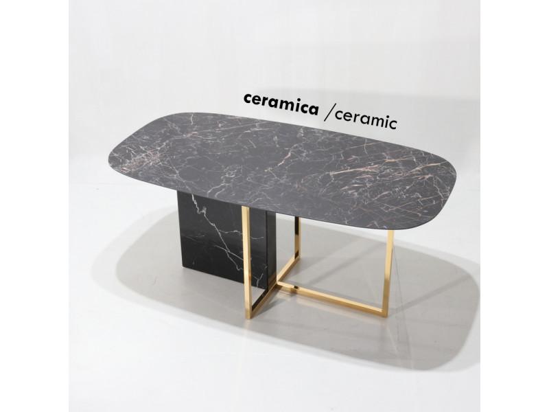 Tavolo MINERVA piano in CERAMICA effetto marmo a botte , varie misure