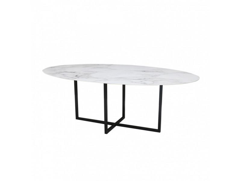 Tavolo AVA OVALE piano in CERAMICA effetto marmo , varie misure