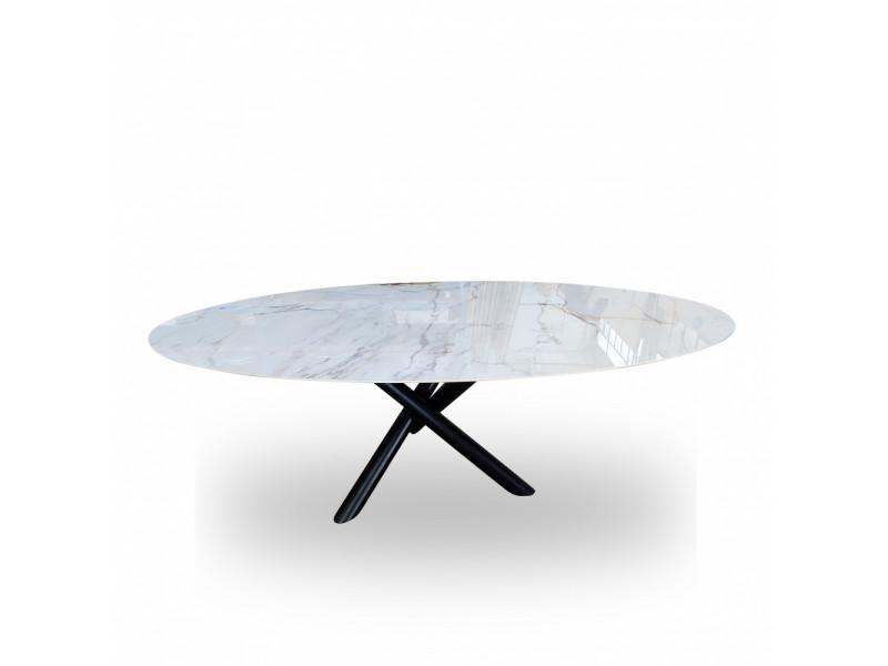 Tavolo FUSION ovale in ceramica effetto marmo