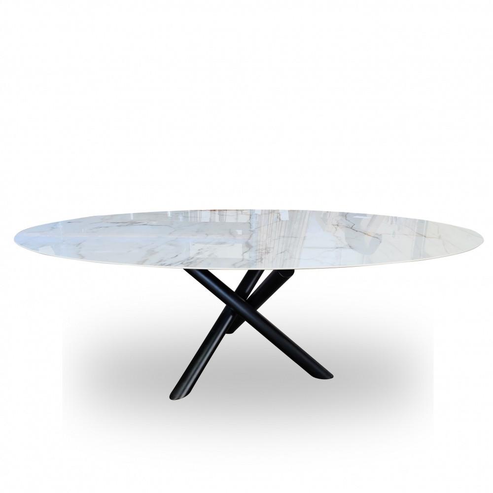 Tavolo X Table Ovale In Ceramica Effetto Marmo
