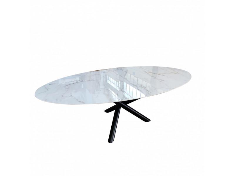 Tavolo CROSS ovale in ceramica effetto marmo