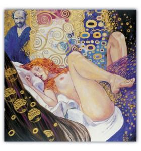 Quadro d'autore IL PITTORE E LA RAGAZZA su tela canvas