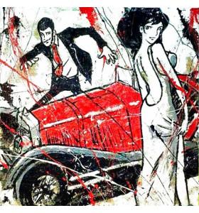 """Quadro d'autore Lupin & Fujiko""""Matrimonio su tela canvas"""