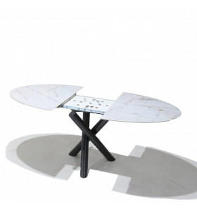 Tavolo CROSS allungabile con piano in ceramica effetto marmo-base in acciaio