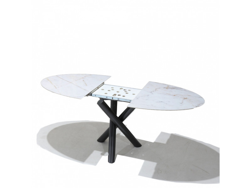 Tavolo Tulip Marmo di Carrara, Base in Fusione di Alluminio.