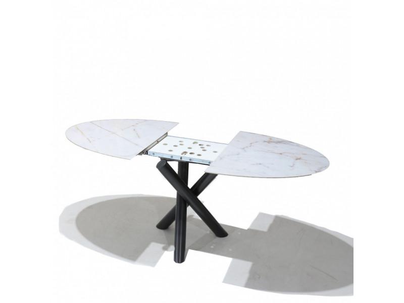 Tavolo X-TABLE allungabile con piano in ceramica effetto marmo-base in acciaio