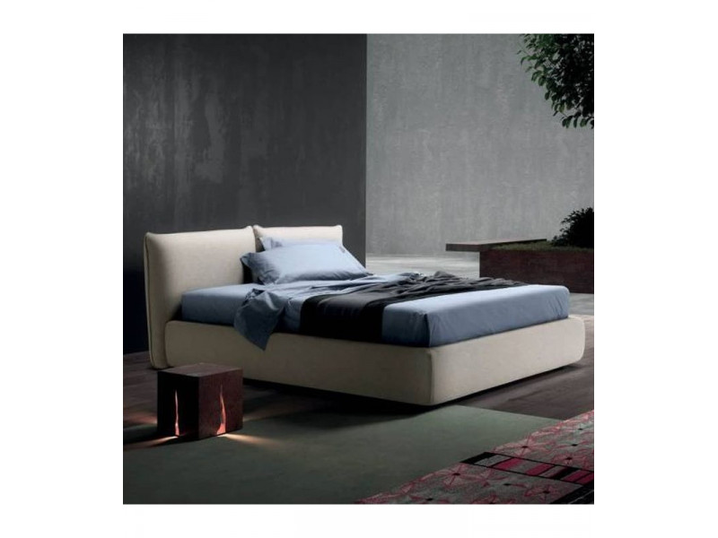 Letto matrimoniale MILLY in Tessuto o Pelle Made in Italy