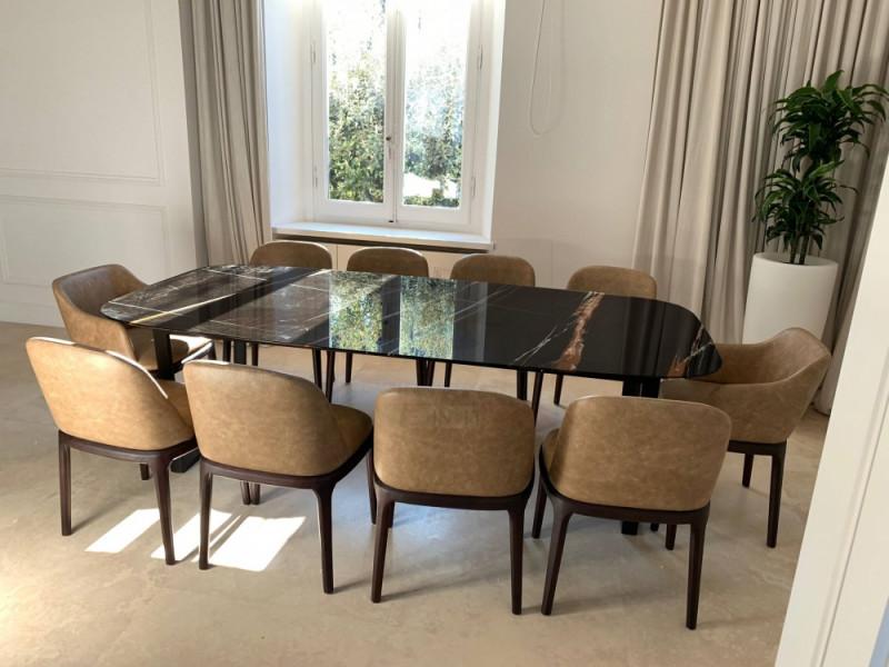 Tavolo ARTE piano in CERAMICA effetto marmo a botte , varie misure