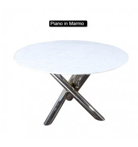 Tavolo Tondo X-TABLE in marmo