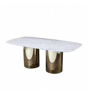 Tavolo DUBBLE C piano ceramica a botte effetto marmo varie misure e finiture