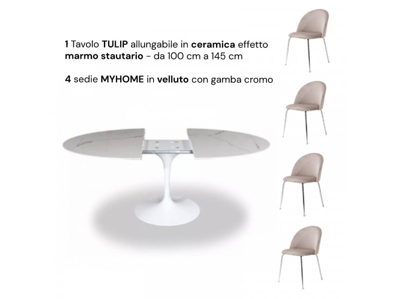 Tavolo Tulip Tondo Allungabile in ceramica 100cm/a 145 + 4 sedie Myhome