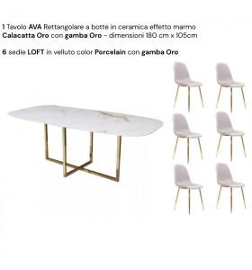 Tavolo AVA piano in CERAMICA effetto marmo a botte 180 cm x 105 cm + 6 sedie LOFT