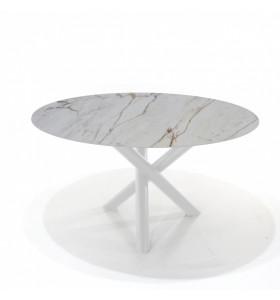 Tavolo CROSS tondo in ceramica effetto marmo