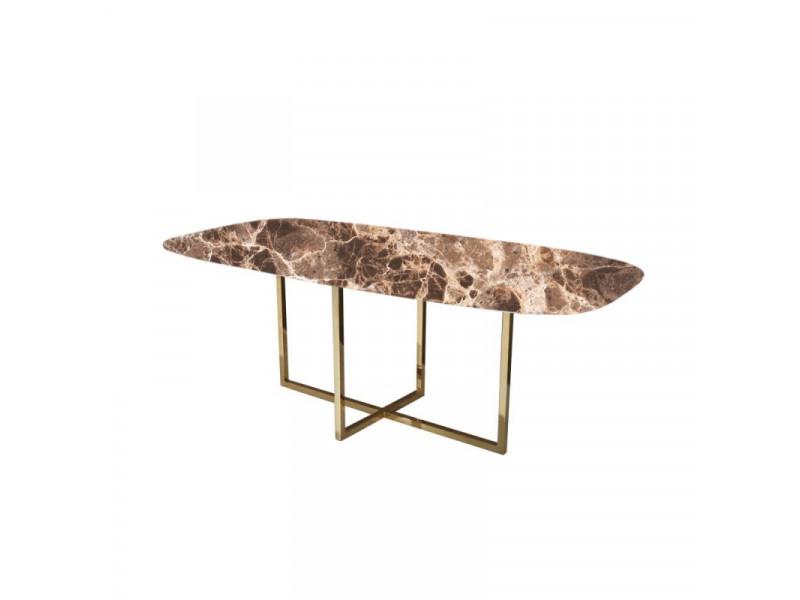 Tavolo AVA piano in CERAMICA effetto marmo EMPERADOR a botte in varie misure