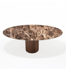 Tavolo TEAK CERAMIC ROTONDO in ceramica effetto marmo EMPERADOR