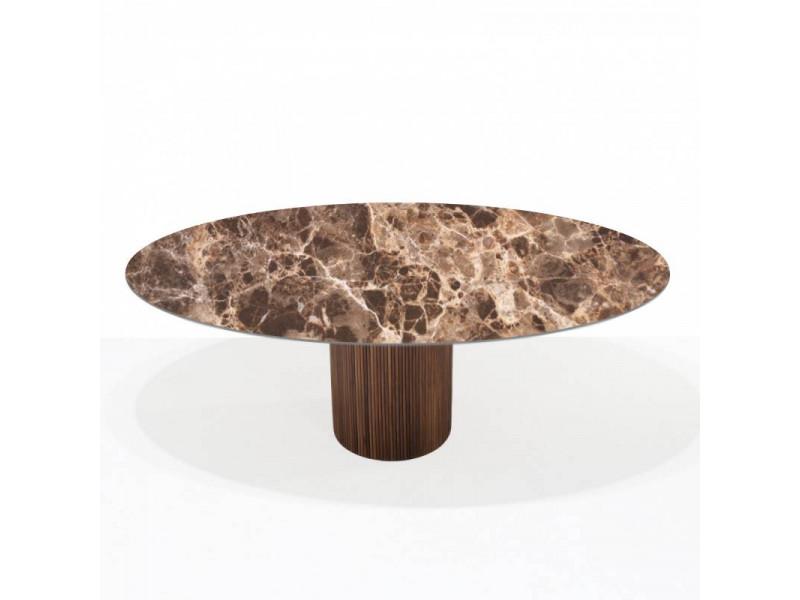 Tavolo TEAK piano in CERAMICA effetto marmo EMPERADOR , Base in Legno varie misure