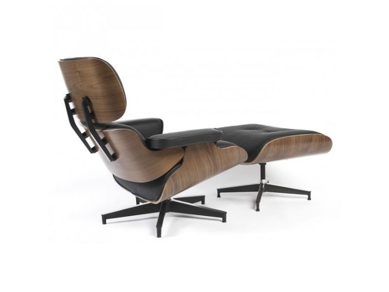 Poltrona eames lounge chair con pouff in palissandro e vera pelle