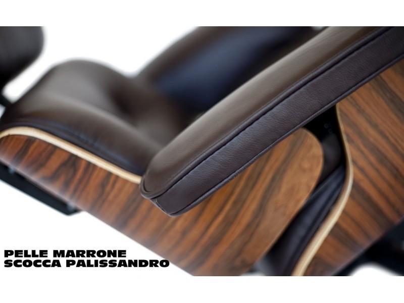Poltrona Lounge Chair con Pouf in pelle